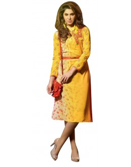 Fancy Readymade Yellow Georgette Kurti - 60016