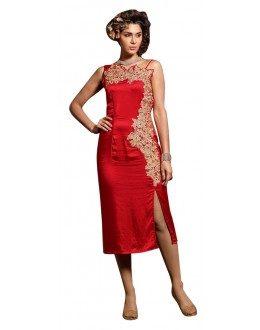 Fancy Readymade Red Georgette Kurti - 60017
