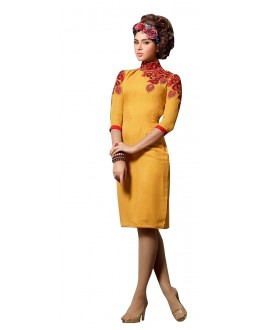 Fancy Readymade Yellow Georgette Kurti - 60018