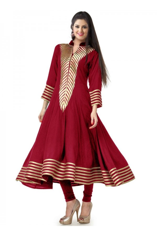 Designer Red Embroidered Georgette Party Wear Anarkali Kurti - Red03 ( IS-AK )