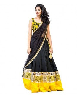 Bollywood Replica-Designer Black & Yellow Embroidered Lehenga Choli-001( IS-9099 )