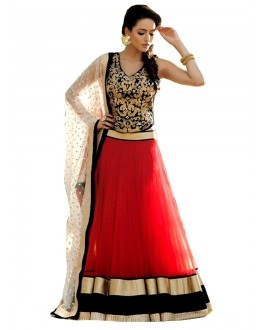 Bollywood Replica-Designer Red & Black Net Embroidered Lehenga Choli-002( IS-9099 )