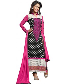 Designer Black & Pink Embroidered Georgette Straight Fit Salwar Suit - 806( IS-SS )