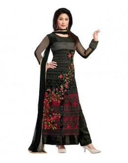 Designer Black Heavy Floral Embroidered Georgette Palazzo Salwar Suit - 807( IS-SS )