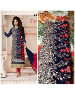 Designer Navy Blue Georgette Heavy Embroidered Straight Fit  Salwar Suit - FA000-2002 ( FFH-FA000 )