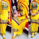 Heavy Embroidered Designer Yellow Cotton Party Wear Patiala Suit- 829( IS-SS )