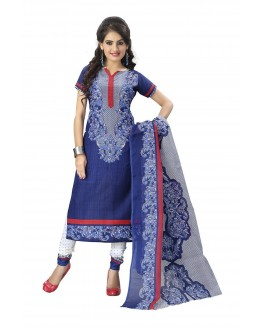Designer Blue Printed Cotton Unstitched Dress Material - Shree10 ( IS-Shree Ganesh )