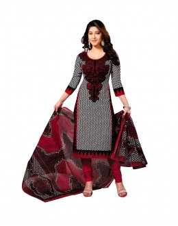 Designer Maroon & Black Printed Cotton Unstitched Dress Material - Shree09 ( IS-Shree Ganesh )