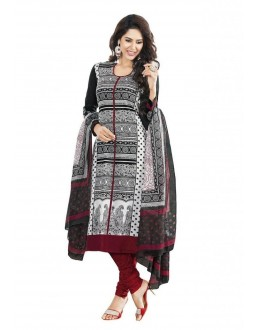 Designer Maroon & Black Printed Cotton Unstitched Dress Material - Shree12 ( IS-Shree Ganesh )