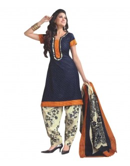Designer Navy Blue & Cream Printed Cotton Unstitched Dress Material - Shree03 ( IS-Shree Ganesh )