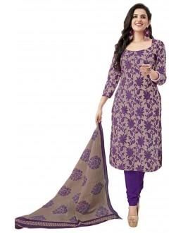 Designer Purple & Grey Printed Cotton Unstitched Dress Material - Shree13 ( IS-Shree Ganesh )