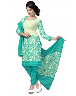 Designer Rama Green & Cream Printed Cotton Unstitched Dress Material - Shree14 ( IS-Shree Ganesh )