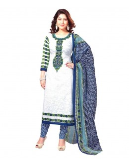 Designer White & Blue Printed Cotton Unstitched Dress Material - Shree02 ( IS-Shree Ganesh )