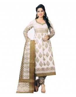 Designer White Printed Cotton Unstitched Dress Material - Shree05 ( IS-Shree Ganesh )