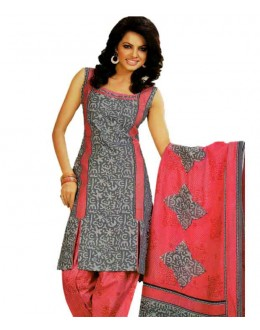 Fancy Grey & Pink Printed Cotton Unstitched Dress Material - Shree01 ( IS-Shree Ganesh )