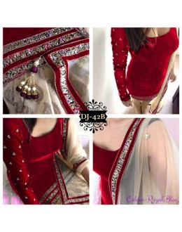 Diwali Special Designer Unstitched Red Velvet Embroidered Party Wear Salwar Suit - DJ-42D