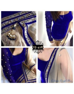 Diwali Special Designer Unstitched Royal Blue Velvet Embroidered Party Wear Salwar Suit - DJ-42B