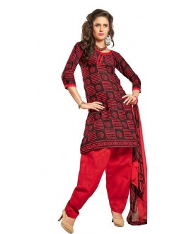 Casual Wear Red & Black Cotton Salwar Suit - P1
