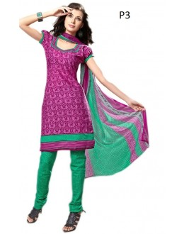Casual Wear Pink & Green Cotton Salwar Suit - P3