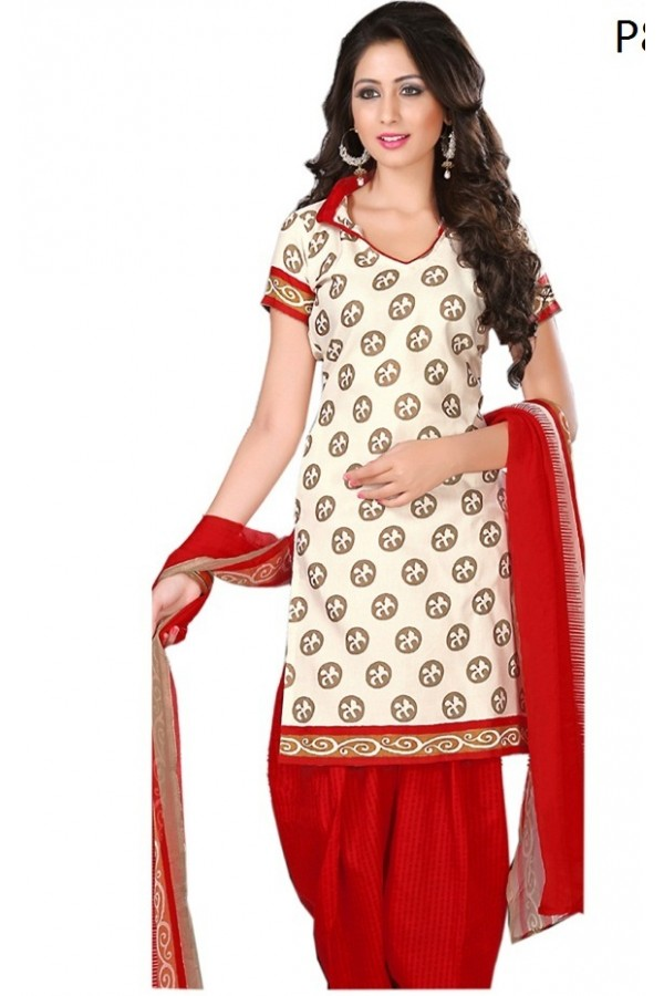 Casual Wear Cream & Red Cotton Salwar Suit - P8
