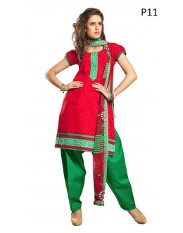 Casual Wear Red & Green Cotton Salwar Suit - P11