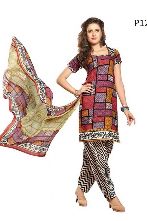 Casual Wear Multicolour Cotton Salwar Suit - P12