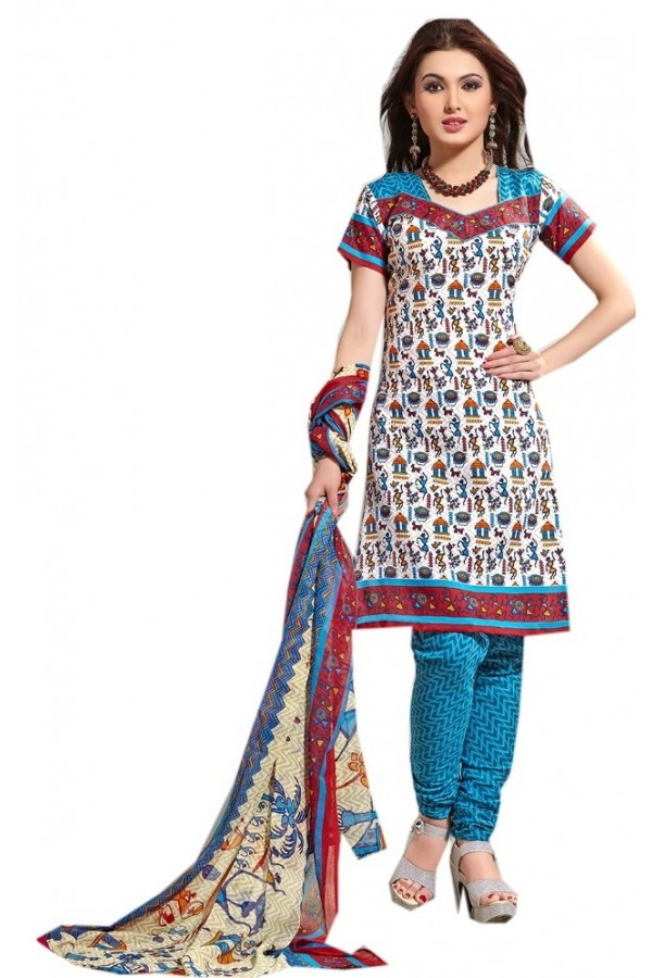 Casual Wear Multicolour Cotton Salwar Suit - P15