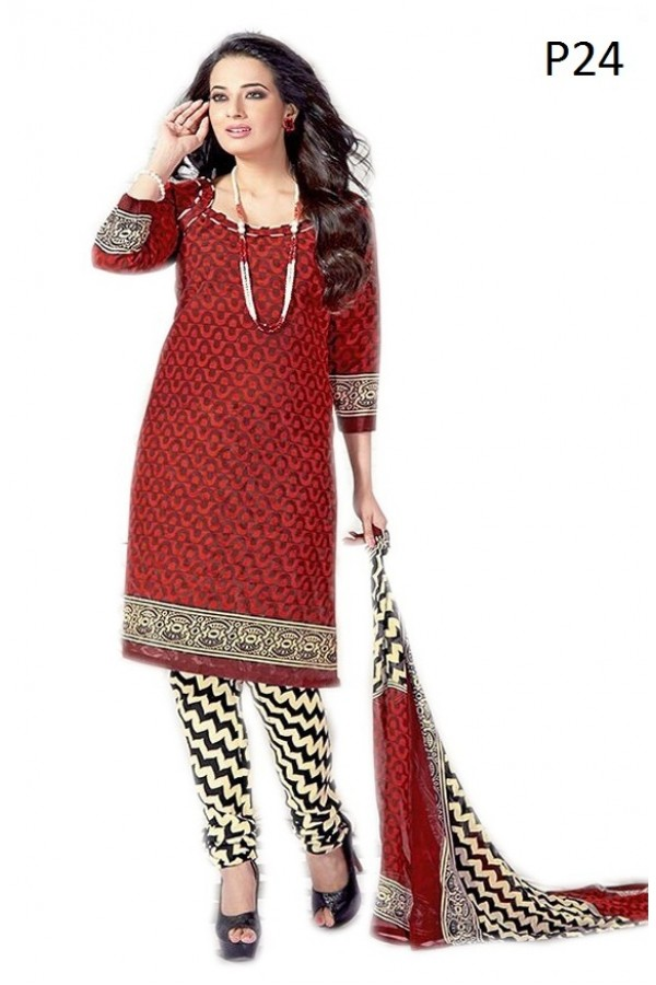 Casual Wear Maroon & Cream Cotton Salwar Suit - P24