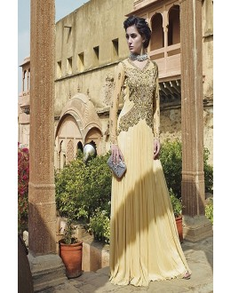 Designer Beige Resham Embroidered Net Party Wear Gown - JOM2891113 ( Jom-9900-J9900 )