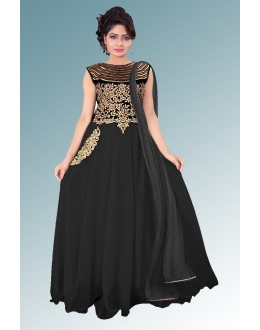Designer Black Embroidered Chiffon Party Wear Salwar Kameez - JOM28SK13302 ( Jom-9900-J9900 )