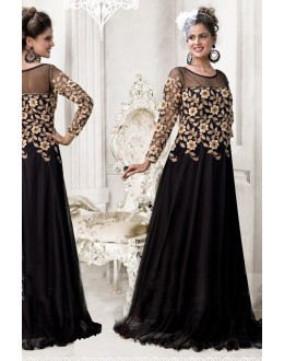 Designer Black Resham Embroidered Net Party Wear Gown - JOM2891103 ( Jom-9900-J9900 )