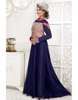 Designer Blue Resham Embroidered Net Party Wear Gown - JOM2891105 ( Jom-9900-J9900 )