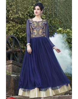 Designer Blue Resham Embroidered Party Wear Gown - JOM289105 ( Jom-9900-J9900 )