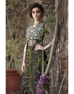 Designer Brown Resham Embroidered Net Party Wear Gown - JOM2891114 ( Jom-9900-J9900 )