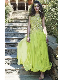 Designer Green Resham Embroidered Net Party Wear Gown - JOM2891115 ( Jom-9900-J9900 )