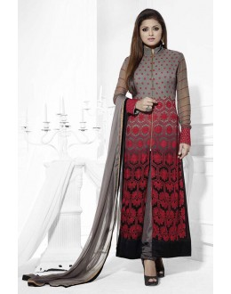 Designer Grey Embroidered Chiffon Party Wear Salwar Kameez - JOM28SK13311 ( Jom-9900-J9900 )