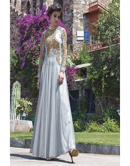 Designer Grey Resham Embroidered Net Party Wear Gown - JOM2891112 ( Jom-9900-J9900 )