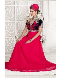 Designer Pink Resham Embroidered Net Party Wear Gown - JOM2891101 ( Jom-9900-J9900 )