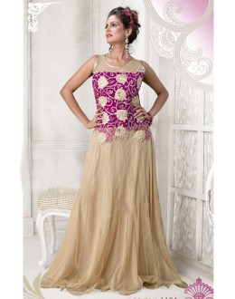 Designer Pink Resham Embroidered Net Party Wear Gown - JOM2891104 ( Jom-9900-J9900 )