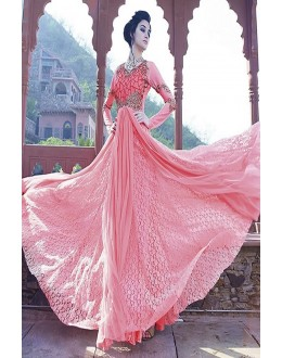 Designer Pink Resham Embroidered Net Party Wear Gown - JOM2891111 ( Jom-9900-J9900 )