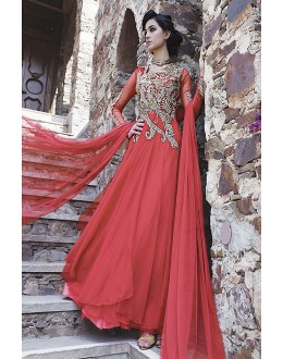 Designer Pink Resham Embroidered Net Party Wear Gown - JOM2891116 ( Jom-9900-J9900 )