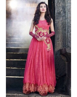 Designer Pink Resham Embroidered Party Wear Gown - JOM289106 ( Jom-9900-J9900 )