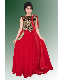 Designer Red Embroidered Chiffon Party Wear Salwar Kameez - JOM28SK13304 ( Jom-9900-J9900 )