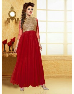 Designer Red Resham Embroidered Net Party Wear Gown - JOM2891122 ( Jom-9900-J9900 )