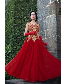 Designer Red Resham Embroidered Party Wear Gown - JOM289104 ( Jom-9900-J9900 )