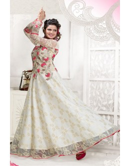 Designer White Resham Embroidered Net Party Wear Gown - JOM2891106 ( Jom-9900-J9900 )