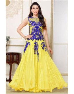Designer Yellow Resham Embroidered Net Party Wear Gown - JOM2891123 ( Jom-9900-J9900 )