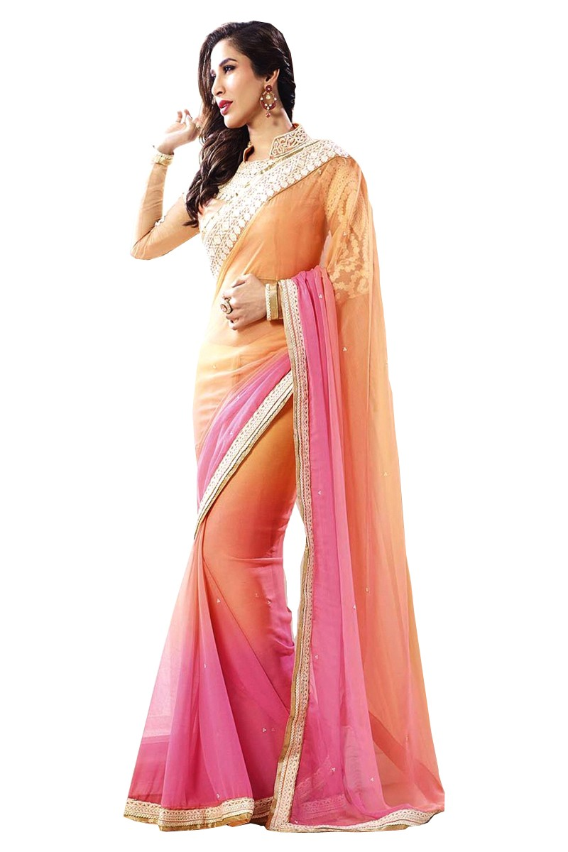 Designer Pink & Yellow Embroidered Georgette Saree With Blouse - JOM2811132 ( JOM9900 - JOM-2811 )