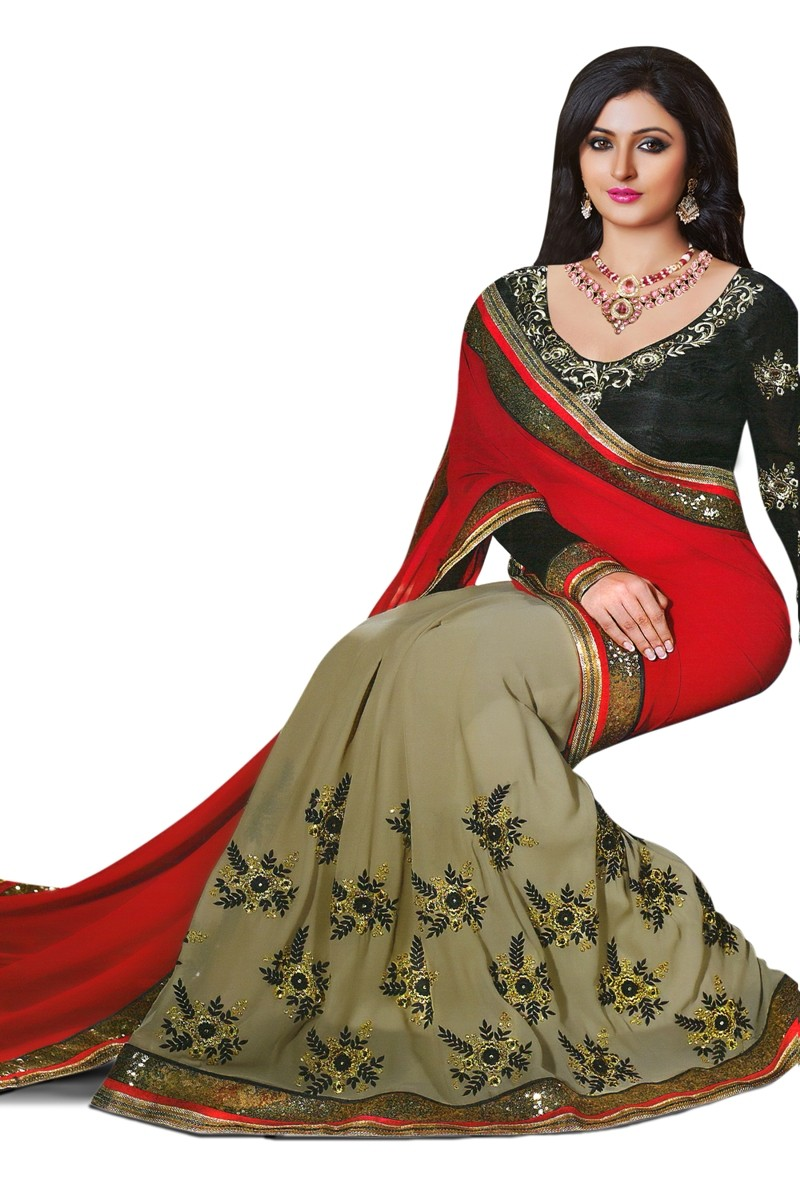 Designer Red & Grey Embroidered Georgette Saree With Blouse - JOM2821153 ( JOM9900 - JOM-2811 )