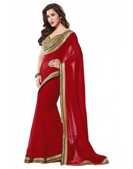 Designer Red Embroidered Georgette Saree With Blouse - JOM2811134 ( JOM9900 - JOM-2811 )